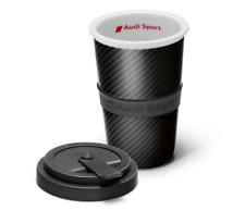 Audi Sport Trinkbecher Kaffeebecher Becher Porzellan Carbonoptik grau 3291800800