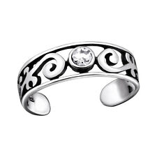 TJS 925 Sterling Silver Toe Ring Tribal Vine Curl Band Adjustable Oxidised
