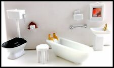 "MINIATURE BATHROOM SET 8 pc. 1/4"" Scale 1:48 for DOLLHOUSE/SHADOW BOXES Plastic"