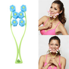 Flower Face Up Roller Massage Slimming Chin Neck Facial Massage - Pink/ Blue