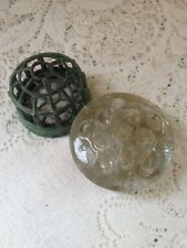 Vintage FLOWER FROGS 1 Metal Caged Domed, 1 Round Glass FLORAL HOLDERS