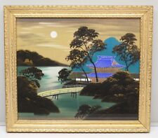 WWII Era Japanese Silk Painting Pagoda Lake Mountain Scene 1940s Gold Frame