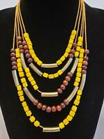 Vintage Multi Strand/Bohemian/Hippy/Glass & Wood Beads/Brass Segments/Necklace