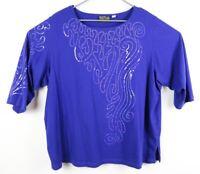 Bob Mackie Wearable Art Womens Blouse Blue Sequins 100% Cotton Size 3X EUC
