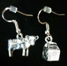 Funny~ Antique Silver Cow and Milk Container Dangle Earrings