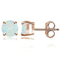 Rose Gold Opal 6mm Round Stud Earrings R5T6