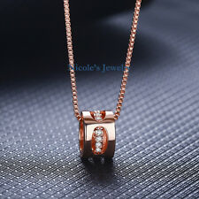 Lovely 18K Rose Gold Plated Lucky Ring Necklace Pendant Chain 145