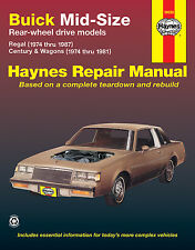 Buick Mid-size RWD Haynes Manual Regal 1974 - 1987 Century & Wagons 1974 - 1981