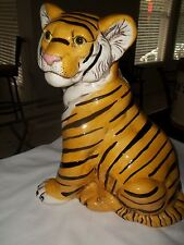 "LARGE 14"" VINTAGE 1960's-1970's TIGER CAT HAND PAINTED STATUE"