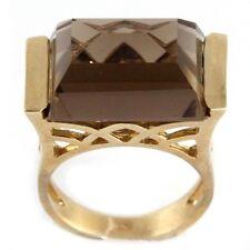 New Design 9k Yellow Gold Smokey Topaz Ring