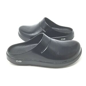 OOFOS~Clogs~OOcloog~Shiny Black~Size M7 W9~Unisex~Rubber~Recovery~Lightweight~