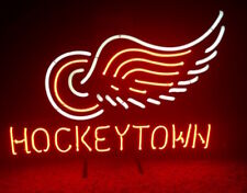"Detroit Red Wings Hockey Town Neon Lamp Sign 20""x16"" Bar Light Beer Display"