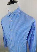 Johnston & Murphy Men's Long Sleeve Striped Dress Shirt sz L Large White Blue