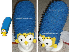 CUSTOM CROCHETED SIMPSONS MARGE with face WIG HAT Costume Halloween Beanie
