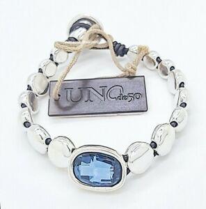 New Uno De 50 Silver Swarovski  Blue Crystal Magic Bracelet  PUL2015AZUMTL0M