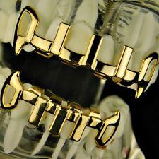14k Gold Plated Grillz Set Open Fangs Vertical Bars Vampire Premade Teeth Grills