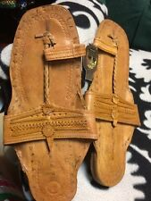 Buffalo Sandals LIGHT BROWN LEATHER HIPPY SHOES FLATS  TOE RING 60S SZ 8