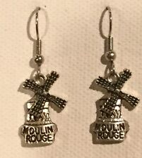 MOULIN ROUGE Earrings Surgical Hook New French Travels PARIS Windmill Can-Can