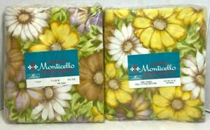 2-Piece Cannon Monticello Floral Muslin Mid Century Fitted & Flat 130tc Vintage