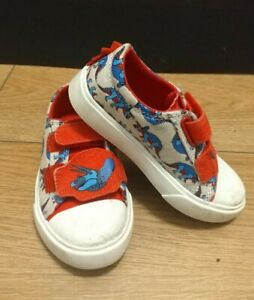 Clarks Boys Dinosaur Canvas Shoes Red and beige UK 7.5F Boys trainers