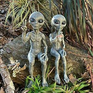 Alien Statue Martians Garden Statues Figurine For Home Indoor Outdoor