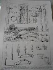 Gravure 1887 - Le Cimetière Gaulois découvert à Adamville ( Seine )