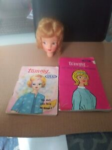 Vintage 1960s Vinyl Ideal BS-Mark Girl Tammy Doll Head  Tall with 2 booklets