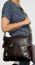 MULBERRY Barnaby Messenger Dark Chocolate Natural Leather Whipstich-Design 34cm