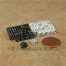 NEW 5mm 50 Black White Mini Dice Set RPG Game Miniature 3/16 inch Tiny D6 Koplow