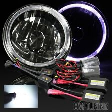 "7"" Round H6024 Black Crystal White LED Halo Diamond Headlights/6000K HID Kit"