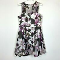 BNWT Lipsy London Grey Floral Sleeveless Lined Dress Size 12 RRP$149.95