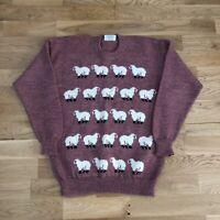 Vintage 90's Kapai New Zealand Sheep Pattern Pure Wool Crewneck Sweater Small