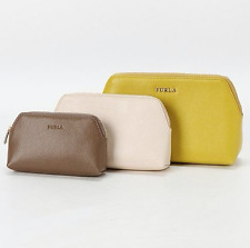 FURLA 'ISABELLE' Matryoshka Triplet Set PEBBLED ARES LEATHER 3x Pouch Bag NWT