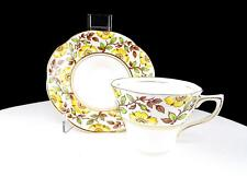 """ROSINA CHINA #498 YELLOW FLORAL 2 1/2"""" SCALLOPED CUP AND SAUCER SET"""