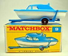 "Matchbox RW 9d Boat & Caravane bleu/blanc dans plus tard ""F"" BOX"