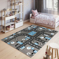 Children's Rug Road Map City Town Cars Play Rugs Kid's Boys Play Toy Nursery Mat