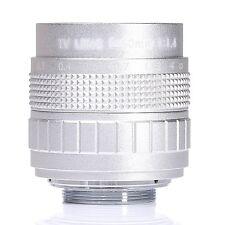 """50mm f1.4 2/3"""" CCTV Lens C mount to M43 EPl3 EPM1 NEX 5 7 Pentex Q NIKON J1 Silv"""