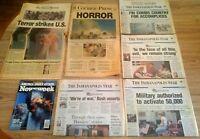 NINE NEWSPAPER LOT - 9/11 ATTACKS - SEPT 12-16 & 9/11/2002 and NEWSWEEK MAGAZINE