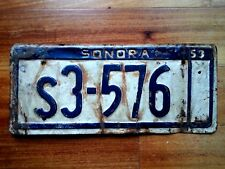 SONORA MEXICO License Plate Tag  1953 - LOW SHIPPING