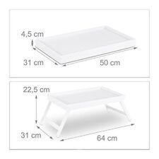 Relaxdays 10023234 Tavolino da letto in Bambù gambe pieghevoli bordo rialzato va