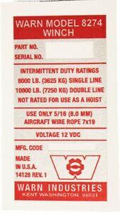 Warn Industries 8274 Original Winch Decal (14128 REV. 1)