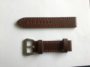 Brown Leather Watch Strap 22mm Panerai style 4m thick chunky silver buckle
