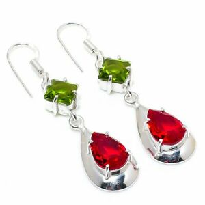 """Mozambique Garnet, Peridot 925 Sterling Silver Jewelry Earring 2.17 """" E823"""