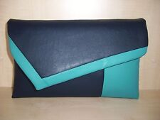 OVER SIZED TURQUOISE and NAVY BLUE faux leather clutch bag,  BN .UK made