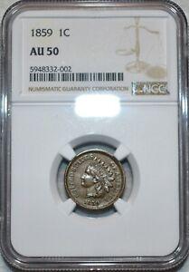 NGC AU-50 1859 Indian Head Cent, Sharp, lustrous specimen.