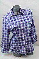 Seven 7 Jeans Purple Plaid Long Sleeve Button Down Shirt 100% Cotton Sz Large