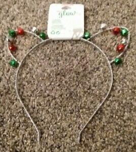 Claire's Christmas Head Band Cat Ears Silver Jingle Bells Festive Cute