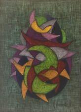 Superbe grand pastel Abstraction géométrique signée  R Revaute Abstrait 1980 .