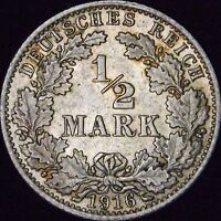 1916-A MS+++ Germany Empire Silver 1/2 Mark - KM# 17