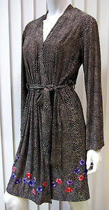 SAKS FIFTH AVENUE WRAP DRESS SIZE S SMALL ANIMAL PRINT BROWN BLACK 144